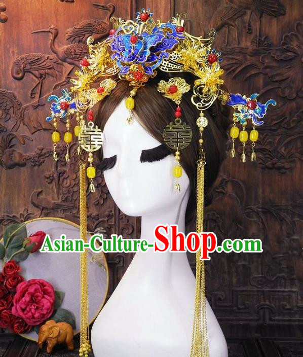 Chinese Handmade Classical Wedding Hair Accessories Ancient Hanfu Hairpins Phoenix Coronet for Women