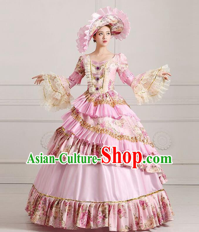 Traditional European Court Princess Renaissance Costume Dance Ball Dowager Pink Full Dress for Women