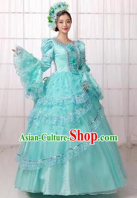 Traditional European Court Princess Renaissance Costume Dance Ball Dowager Blue Full Dress for Women