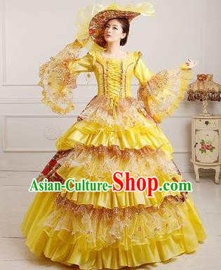 Traditional European Court Dowager Renaissance Costume Dance Ball Yellow Full Dress for Women
