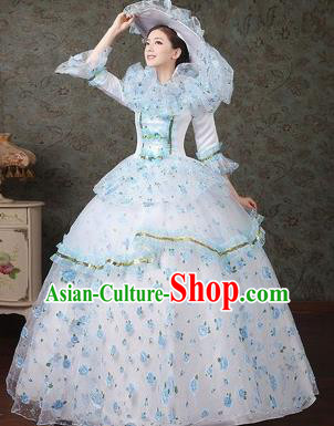 Traditional European Court Dowager Renaissance Costume Dance Ball White Full Dress for Women