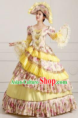 Traditional European Court Princess Renaissance Costume Dance Ball Layered Full Dress for Women