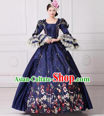 Traditional European Court Princess Renaissance Costume Dance Ball Navy Layered Full Dress for Women