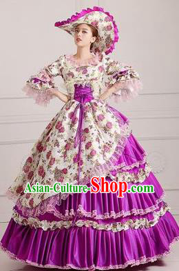 Traditional European Court Princess Renaissance Costume Dance Ball Purple Layered Full Dress for Women