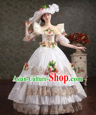 Traditional European Court Princess Renaissance Costume Dance Ball White Layered Full Dress for Women