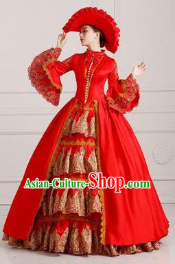 Traditional European Court Princess Renaissance Costume Dance Ball Red Layered Full Dress for Women