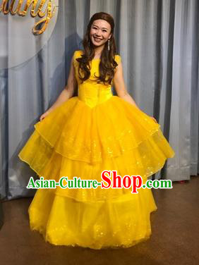 Traditional European Court Princess Renaissance Costume Dance Ball Yellow Bubble Full Dress for Women