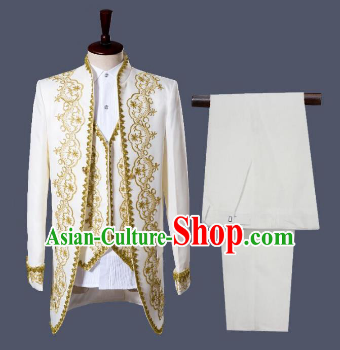 Traditional European Venice Court Prince Renaissance Costume Dance Ball Palace White Clothing for Men