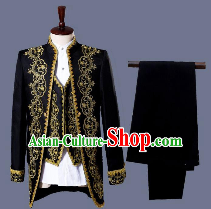 Traditional European Venice Court Prince Renaissance Costume Dance Ball Palace Black Clothing for Men