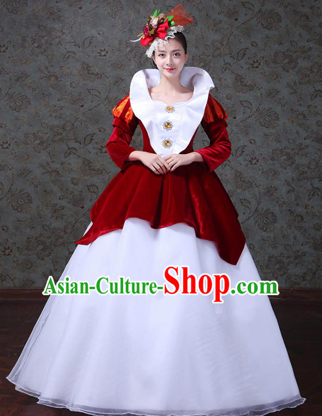 Traditional European Court Princess Renaissance Costume Dance Ball Red Velvet Full Dress for Women