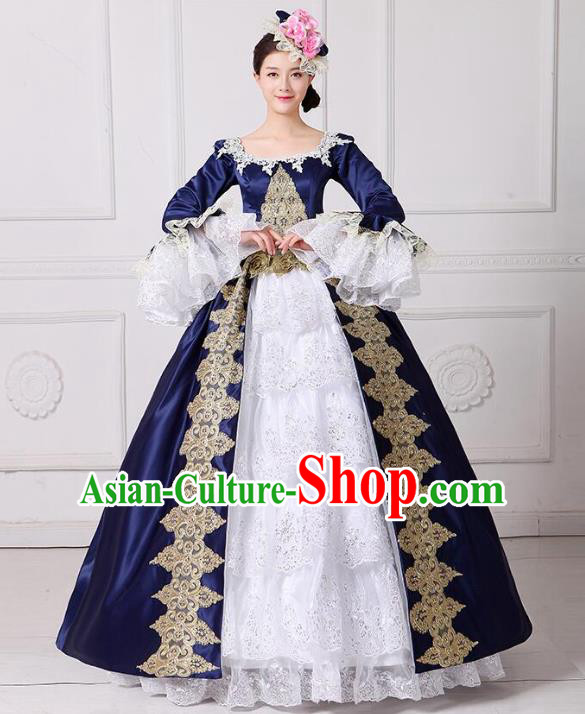 Traditional European Court Princess Renaissance Costume Dance Ball Blue Lace Full Dress for Women
