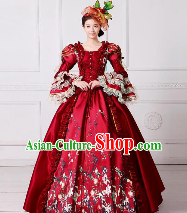 Traditional European Court Princess Renaissance Costume Dance Ball Red Full Dress for Women
