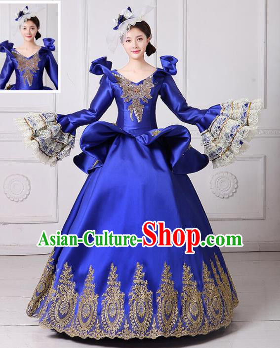 Traditional European Court Noblewoman Renaissance Costume Dance Ball Princess Royalblue Dress for Women