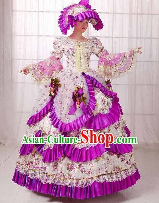 Traditional European Court Noblewoman Renaissance Costume Dance Ball Princess Purple Dress for Women