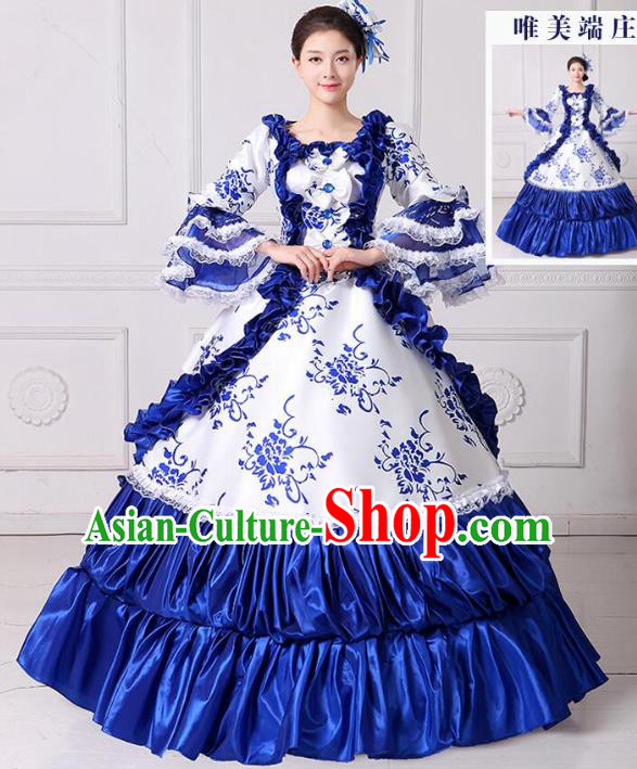 Traditional European Court Noblewoman Renaissance Costume Dance Ball Princess Blue Dress for Women