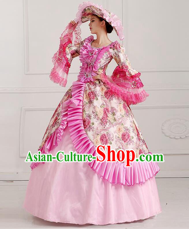 Traditional European Court Noblewoman Renaissance Costume Dance Ball Princess Pink Dress for Women
