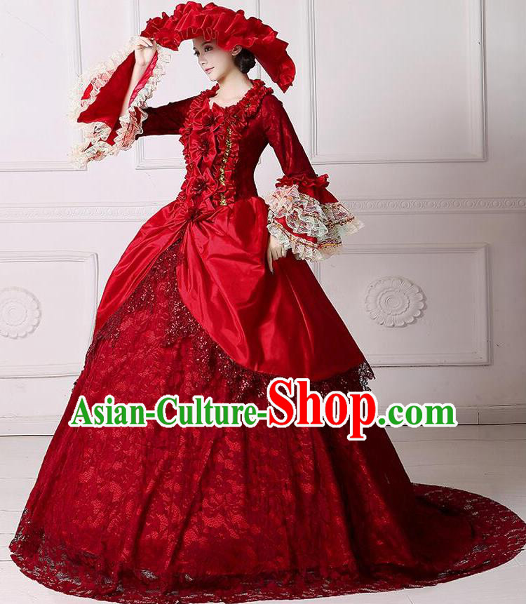 Traditional European Court Noblewoman Renaissance Costume Dance Ball Princess Red Lace Dress for Women