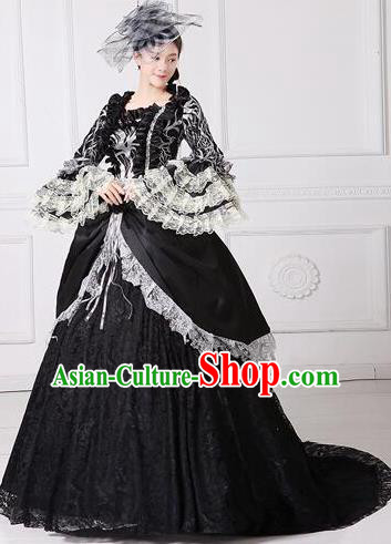 Traditional European Court Noblewoman Renaissance Costume Dance Ball Princess Black Lace Dress for Women