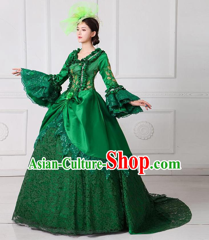 Traditional European Court Noblewoman Renaissance Costume Dance Ball Princess Green Lace Dress for Women