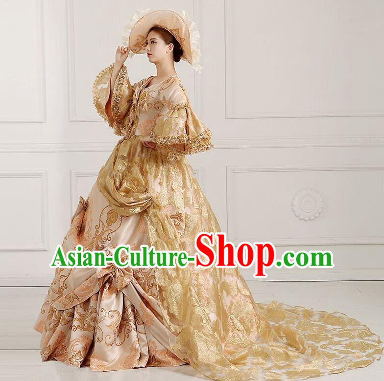 Traditional European Court Noblewoman Renaissance Costume Dance Ball Princess Palace Champagne Trailing Dress for Women