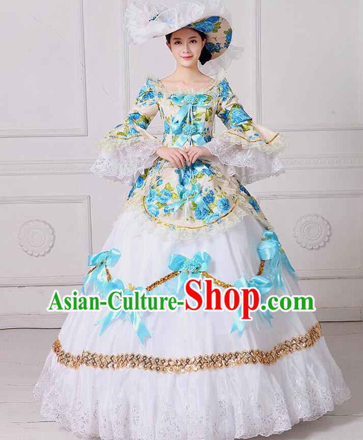 Traditional European Court Noblewoman Renaissance Costume Dance Ball Princess Blue Bowknot Dress for Women