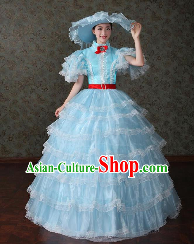 Traditional European Court Noblewoman Renaissance Costume Dance Ball Princess Blue Veil Dress for Women