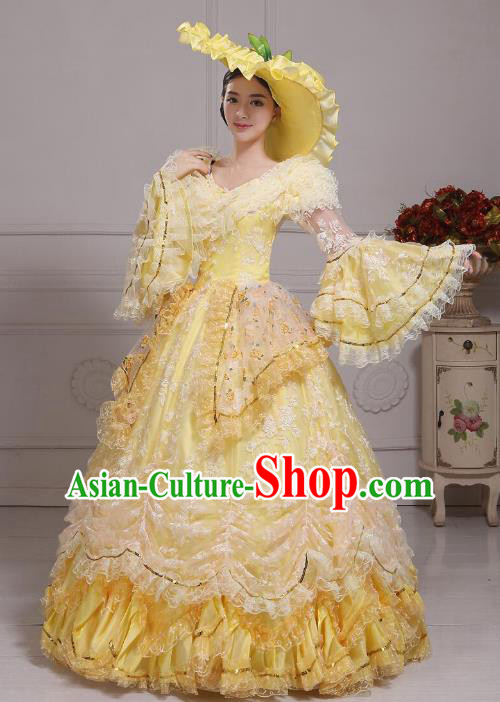 Traditional European Court Noblewoman Renaissance Costume Dance Ball Princess Yellow Bubble Dress for Women