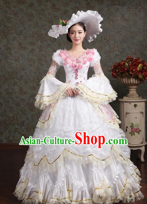 Traditional European Court Noblewoman Renaissance Costume Dance Ball Princess White Bubble Dress for Women