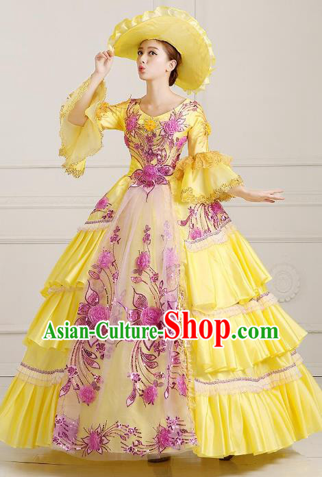 Traditional European Court Noblewoman Renaissance Costume Dance Ball Princess Full Dress for Women