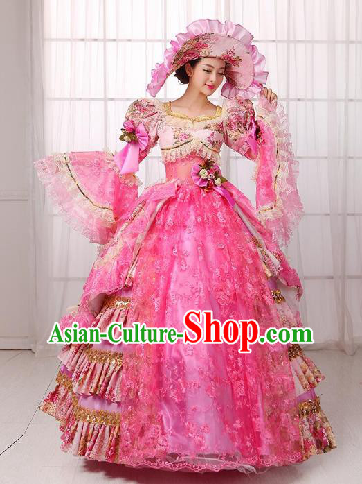 Traditional European Court Noblewoman Renaissance Costume Dance Ball Princess Peach Pink Full Dress for Women