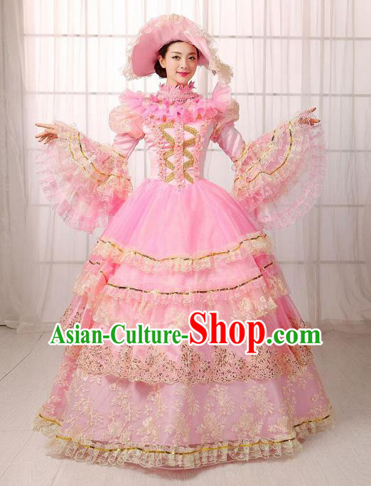 Traditional European Court Noblewoman Renaissance Costume Dance Ball Princess Pink Full Dress for Women