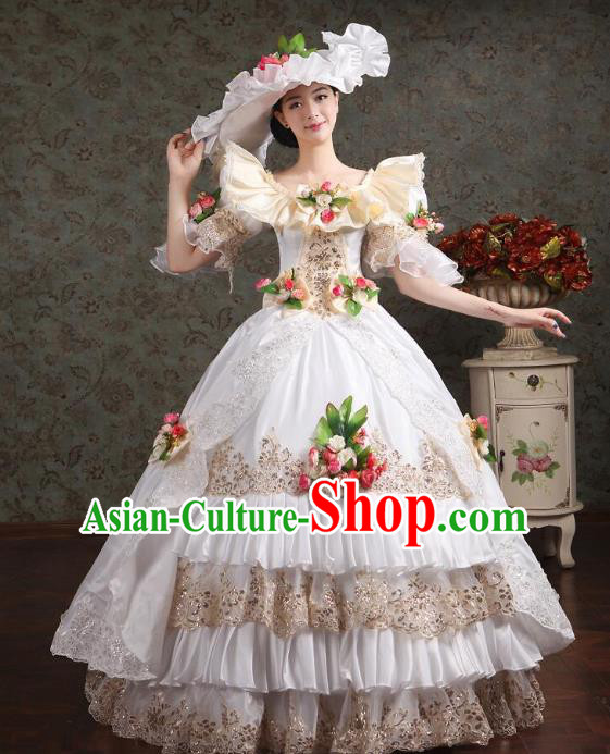 Traditional European Court Noblewoman Renaissance Costume Dance Ball Princess White Full Dress for Women