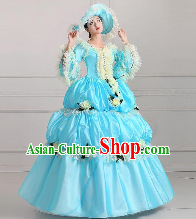 Traditional European Court Noblewoman Renaissance Costume Dance Ball Princess Blue Full Dress for Women