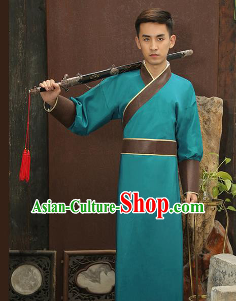 Traditional Chinese Stage Performance Costume Ancient Han Dynasty Swordsman Green Robe for Men