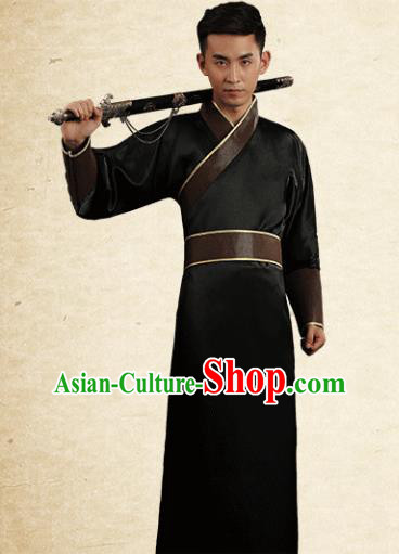 Traditional Chinese Stage Performance Costume Ancient Han Dynasty Swordsman Black Robe for Men
