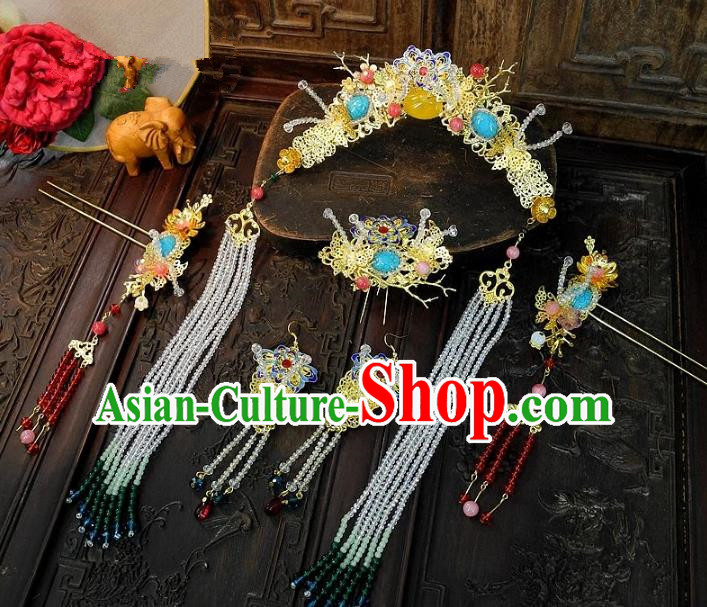 Chinese Handmade Classical Wedding Hair Accessories Ancient Hanfu Step Shake Bride Phoenix Coronet for Women