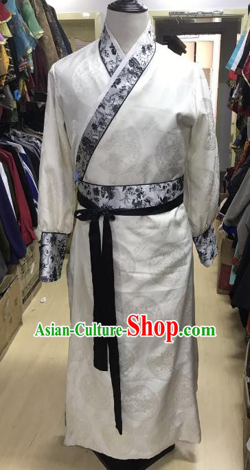 Traditional Chinese Stage Performance Costume Ancient Ming Dynasty Swordsman White Robe for Men