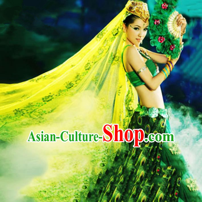 Traditional Chinese Peacock Dance Costume Pavane Dress for Women