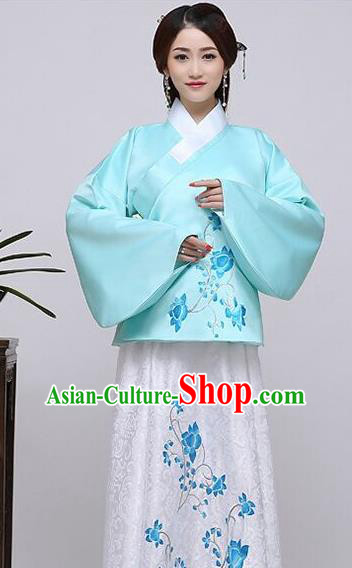 Traditional China Ancient Ming Dynasty Princess Costume Hanfu Blue Blouse and White Skirt for Women