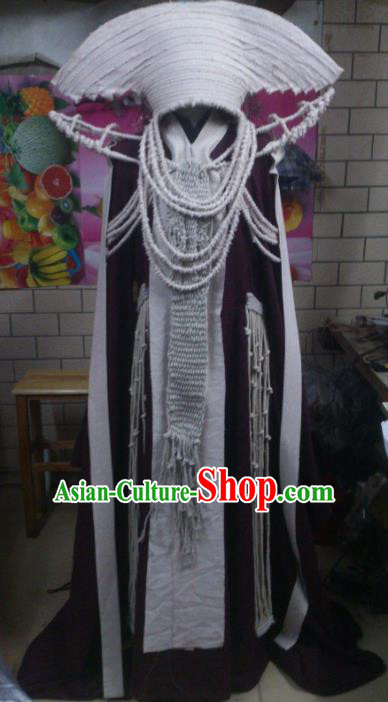 Traditional China Ancient Cosplay Swordsman Costume and Hat Complete Set for Women