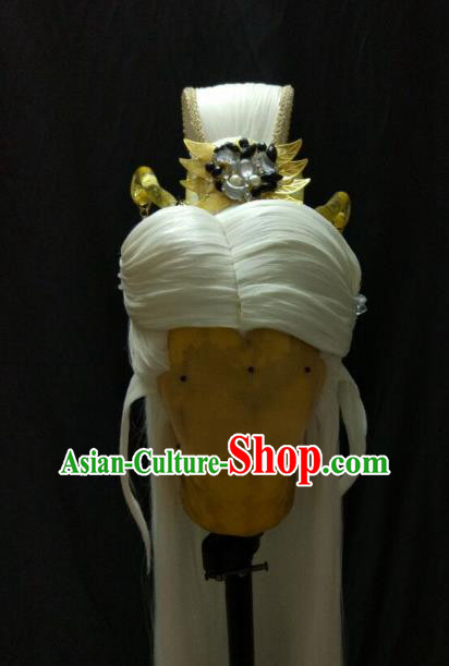 Traditional China Ancient Cosplay Swordsman Wig and Hair Accessories Hairdo Crown for Men