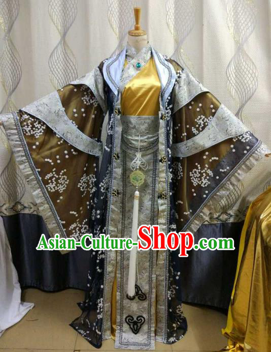 China Ancient Cosplay Swordsman Costume Royal Emperor Knight Fancy Dress for Men