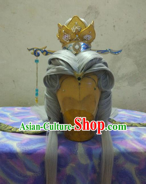 Traditional China Ancient Cosplay Royal Highness Swordsman Wig and Hair Accessories Hairpins for Men