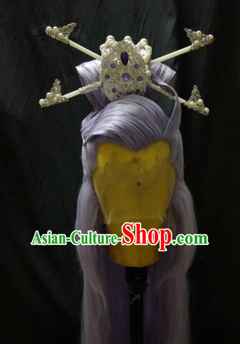 Traditional China Ancient Cosplay Royal Highness Wig and Hair Accessories Hairpins for Men