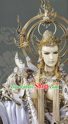Traditional China Ancient Cosplay Buddhism Swordsman Wig and Hair Accessories Headwear for Men