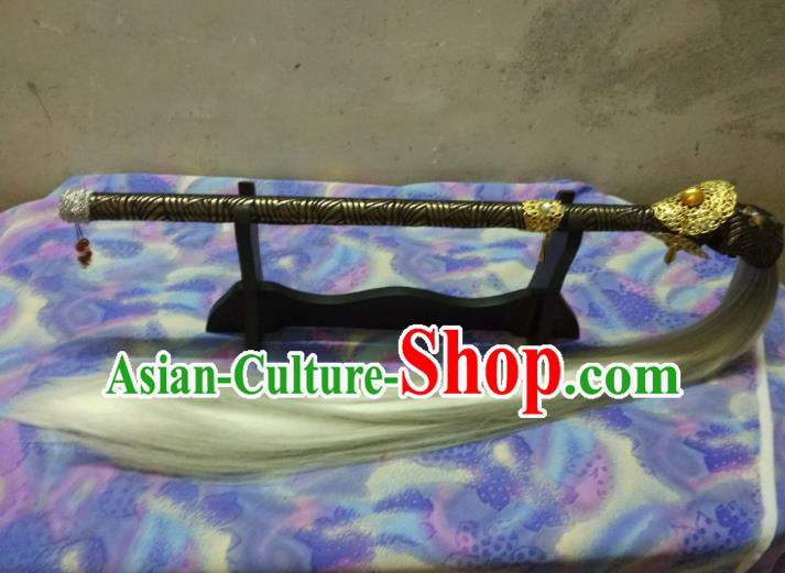 Traditional China Ancient Cosplay Swordsman Horsetail Whisk for Men