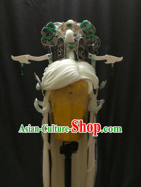Traditional China Ancient Cosplay Knight Swordsman Wig and Hair Accessories for Men