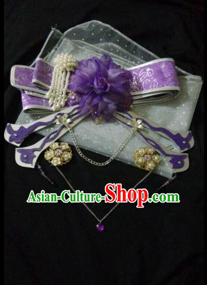 Traditional China Ancient Cosplay Swordswoman Halloween Hair Accessories Purple Bowknot for Women