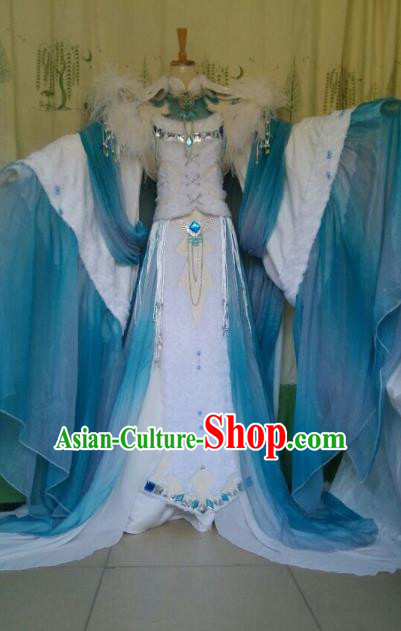China Ancient Cosplay Palace Princess Costume Fairy Traditional Hanfu Blue Dress for Women