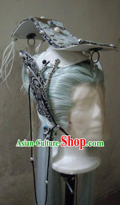 Traditional China Ancient Cosplay Dragon Prince Hair Accessories Wig and Hat for Men